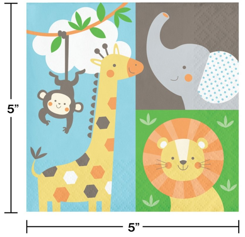 Jungle Animals Beverage Napkins (16) - Party Zone USA