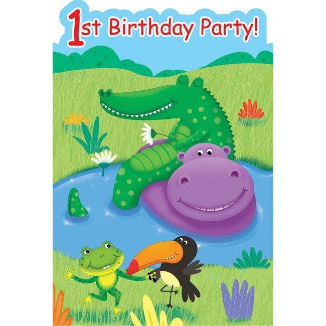 Jungle Buddies 1st Birthday Party Invitations (8) - Party Zone USA