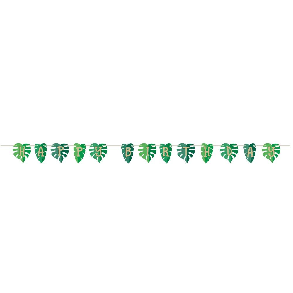 Jungle Leaf Happy Birthday Banner - Party Zone USA