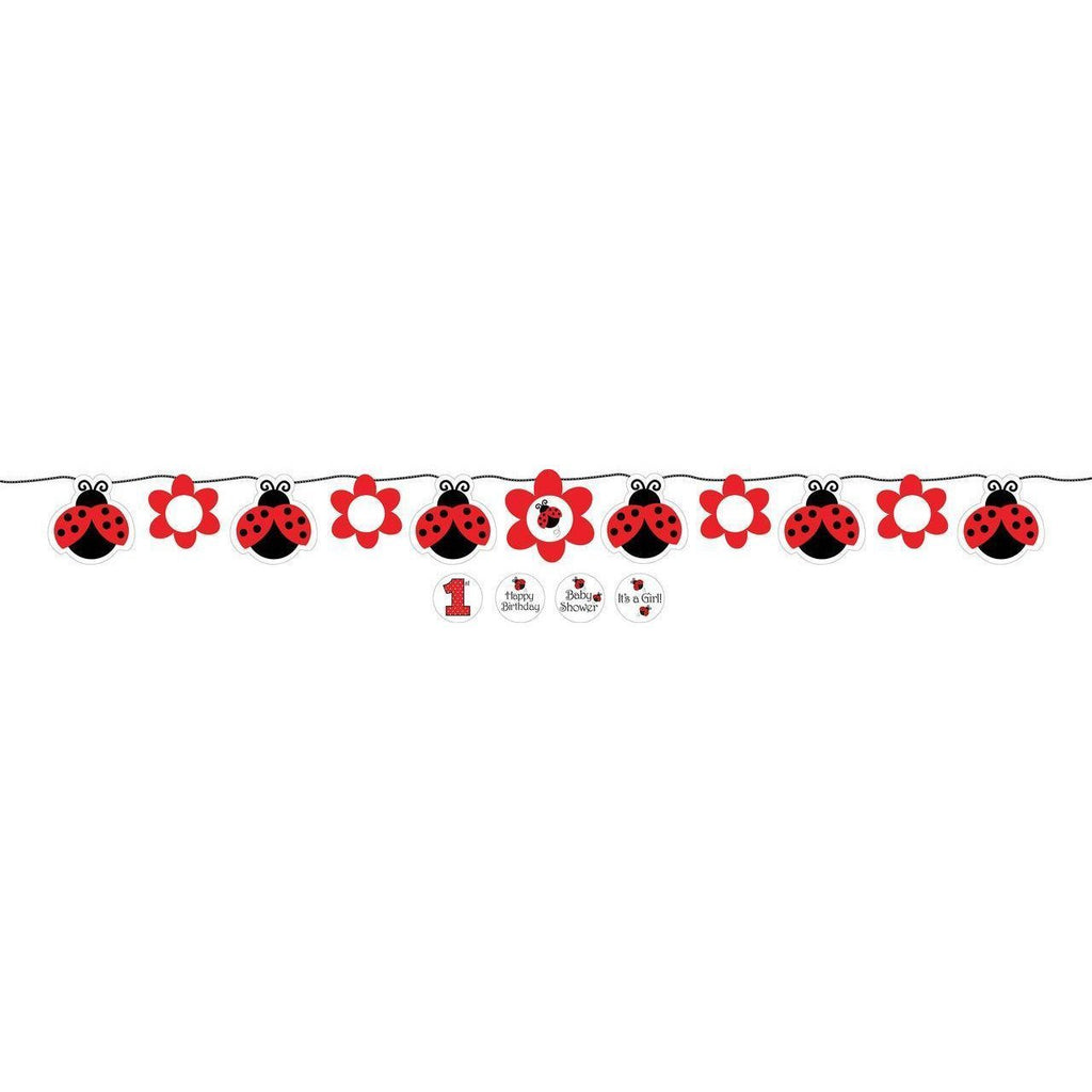 Ladybug Fancy Circle Ribbon Banner - Party Zone USA
