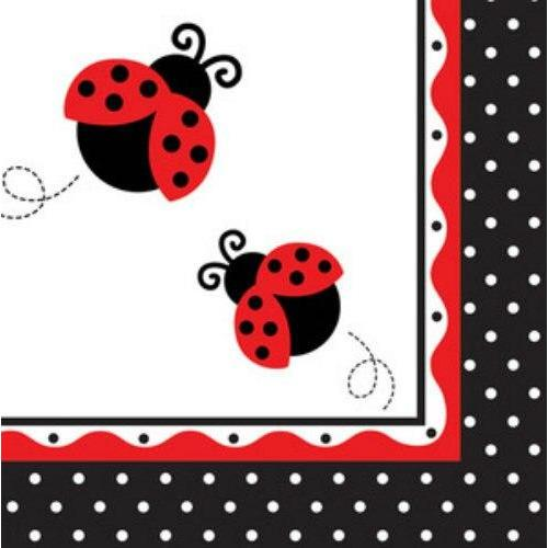 Ladybug Fancy Lunch Napkins (16) - Party Zone USA