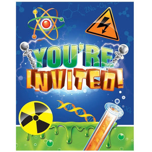 Mad Scientist Party Invitations (8) - Party Zone USA
