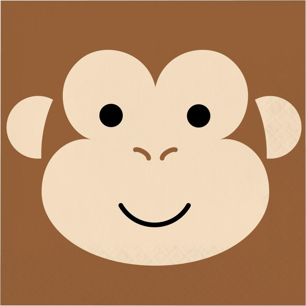 Monkey Animal Faces Lunch Napkins (16) - Party Zone USA