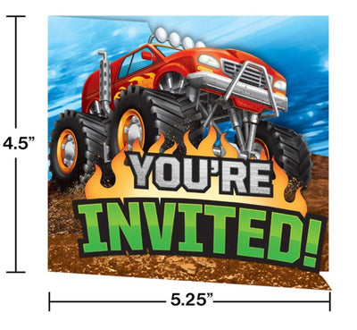 Monster Truck Rally Party Invitations (8) - Party Zone USA