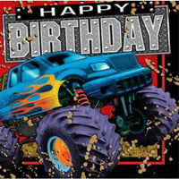 Mudslinger Monster Truck HAPPY BIRTHDAY Lunch Napkins (16) - Party Zone USA