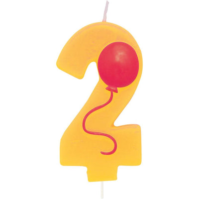Number 2 Balloon Birthday Candle w/Balloon - Party Zone USA