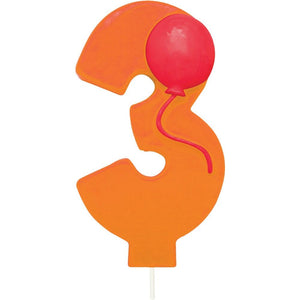 Number 3 Balloon Birthday Candle w/Balloon - Party Zone USA