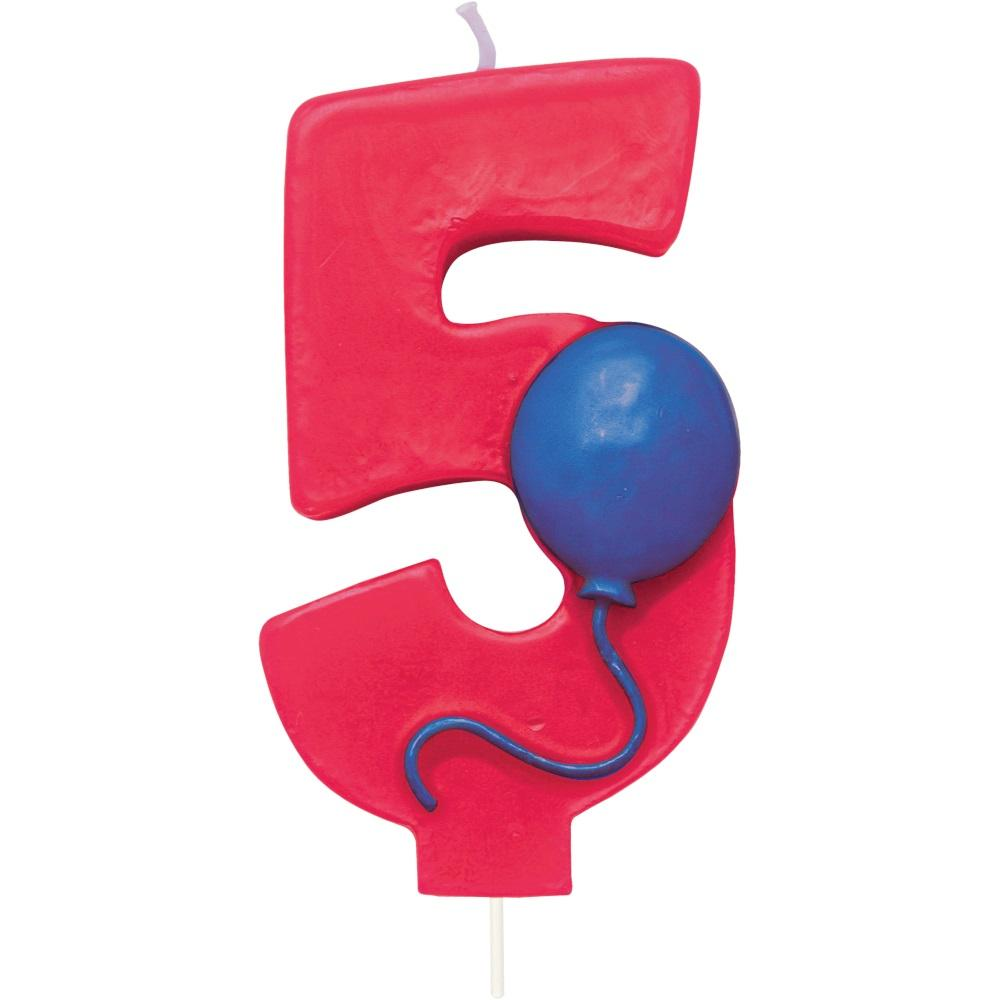 Number 5 Balloon Birthday Candle w/Balloon - Party Zone USA