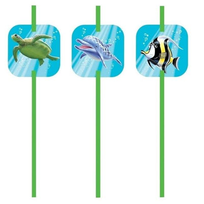 Ocean Party Straws (6) - Party Zone USA
