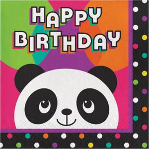 Panda-Monium Happy Birthday Lunch Napkins (16) - Party Zone USA