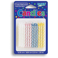 Pastel Striped Birthday Candles (24) - Party Zone USA