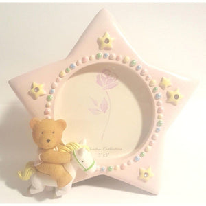 Pink Baby Photo Frame w/ Teddy Bear - Party Zone USA