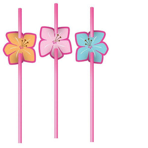 Pink Luau Fun Straws (6) - Party Zone USA