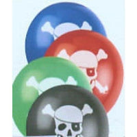 Pirate Skull & Cross Bones Balloons (8) - Party Zone USA