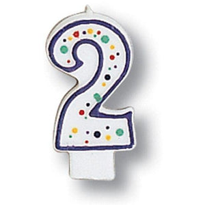 Polka Dot Number 2 Candle - Party Zone USA