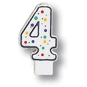 Polka Dot Number 4 Candle - Party Zone USA