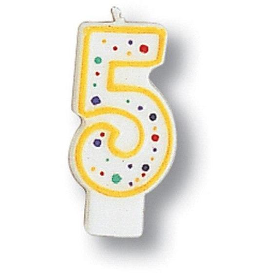 Polka Dot Number 5 Candle - Party Zone USA
