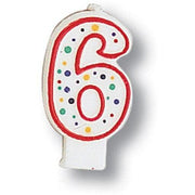 Polka Dot Number 6 Candle - Party Zone USA