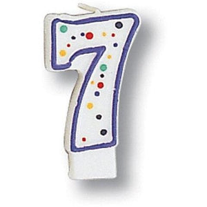 Polka Dot Number 7 Candle - Party Zone USA