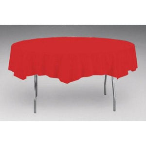 Red Plastic Table Cover - ROUND - Party Zone USA