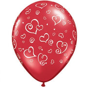 Red Swirl Hearts Latex balloons (25) - Party Zone USA