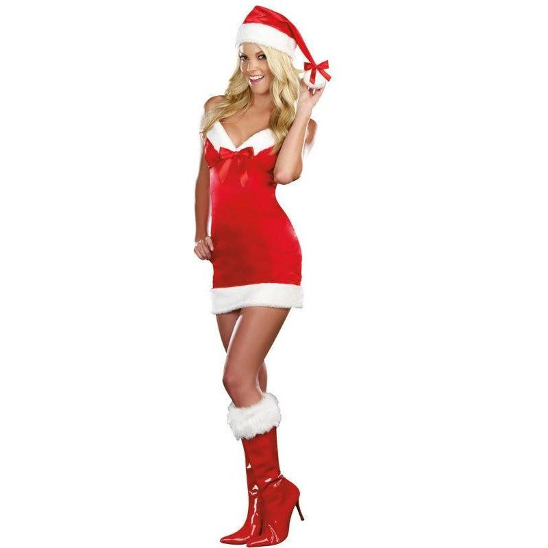 Sexy Under the Mistletoe Christmas Dress Costume w/ Santa Hat - Party Zone USA