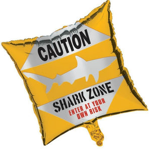 Shark Splash Mylar Balloon - Caution - Party Zone USA