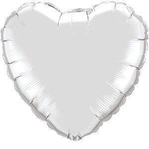 Silver Heart Shaped Balloon - Party Zone USA