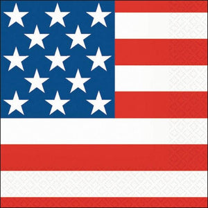 Stars & Stripes Beverage Napkins (30) - Party Zone USA