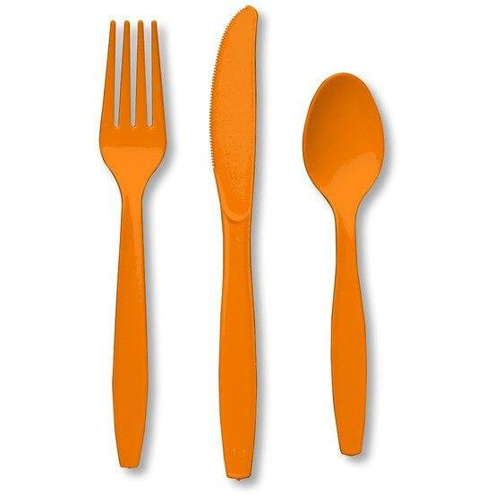 Sunkissed Orange Premium Plastic Forks, Spoons, Knives Cutlery - 8ea - Party Zone USA