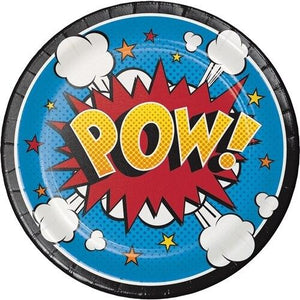 Superhero Slogans Dessert Plates (8) - Party Zone USA