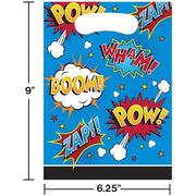 Superhero Slogans Loot Bags (8) - Party Zone USA