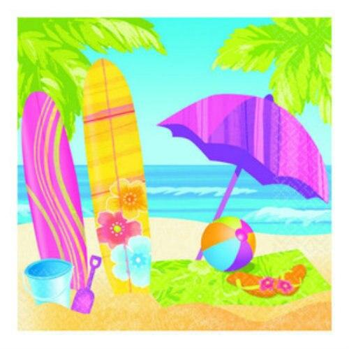 Surf's Up Party Beverage Napkins (16) - Party Zone USA
