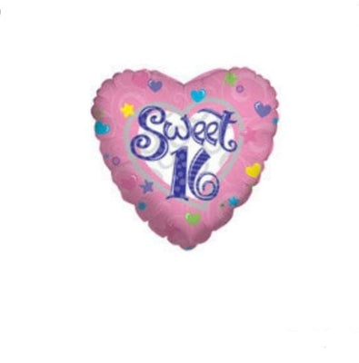 Sweet 16 Birthday HEART Balloon (1) - Party Zone USA