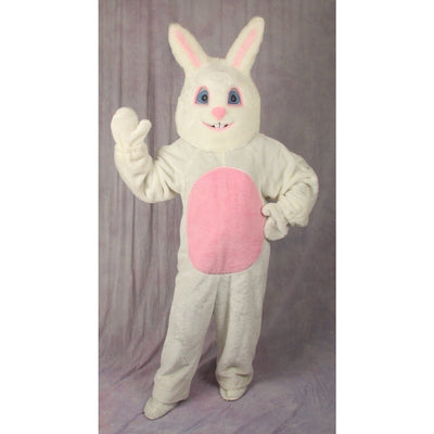 White Adult Easter Bunny Costume w/Mascot Head - Party Zone USA