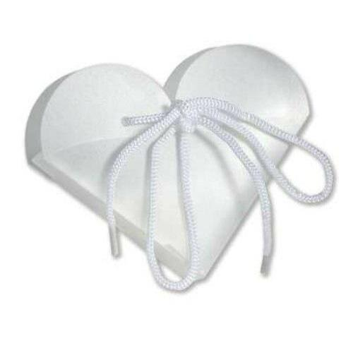 White Frosted Heart Take Out Boxes (10) - Party Zone USA