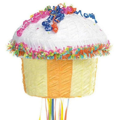 YELLOW Cupcake Pull String Pinata - Party Zone USA