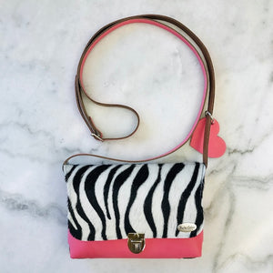 Bella Colori Colourful leather bag with Zebra print.