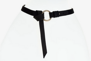 Elvy leather belt with gold ring black