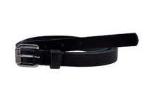 Load image into Gallery viewer, Elvy leather extra long belt with old silver buckle black