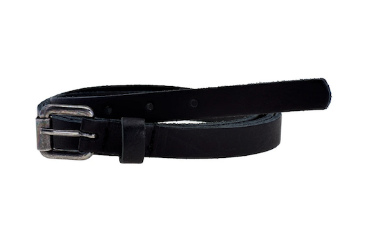 Elvy leather extra long belt with old silver buckle black
