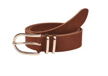 Load image into Gallery viewer, Elvy leather belt with gold buckle cognac