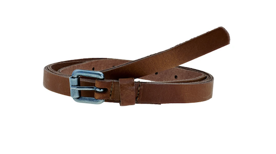 Elvy leather extra long belt with old silver buckle cognac