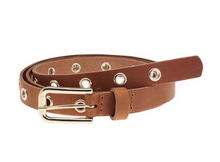 Load image into Gallery viewer, Elvy leather extra long belt with gold buckle and eyelets cognac