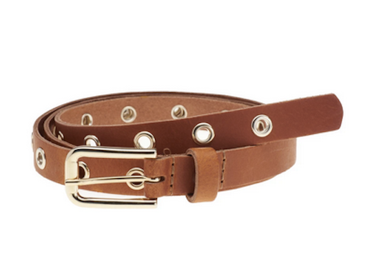 Elvy leather extra long belt with gold buckle and eyelets cognac
