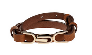 Elvy leather small belt with gold buckle cognac