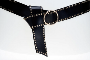 Elvy leather belt extra long with golden studs and buckle black