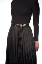 Load image into Gallery viewer, Elvy leather belt extra long with golden studs and buckle black