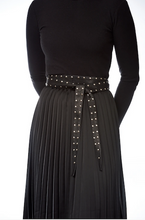 Load image into Gallery viewer, Elvy leather wrap arround belt with silver studs black