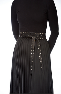 Elvy leather wrap arround belt with silver studs black